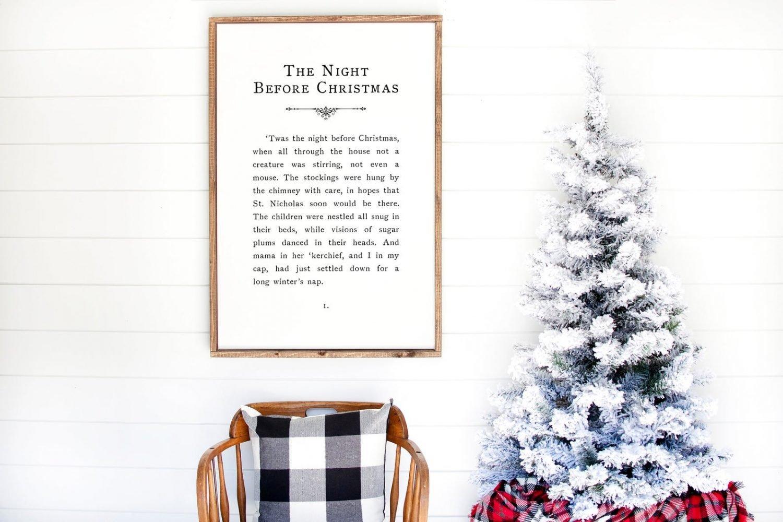 the night before christmas printable · vintage book page wall decor · christmas wall art · holiday sign · farmhosue christmas · seasonal art
