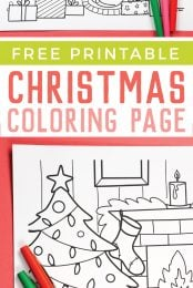 Get into the holiday spirit with this cute, festive, and free Printable Christmas Coloring Page!