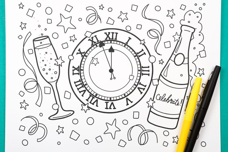Printable New Year S Eve Coloring Page Hey Let S Make Stuff