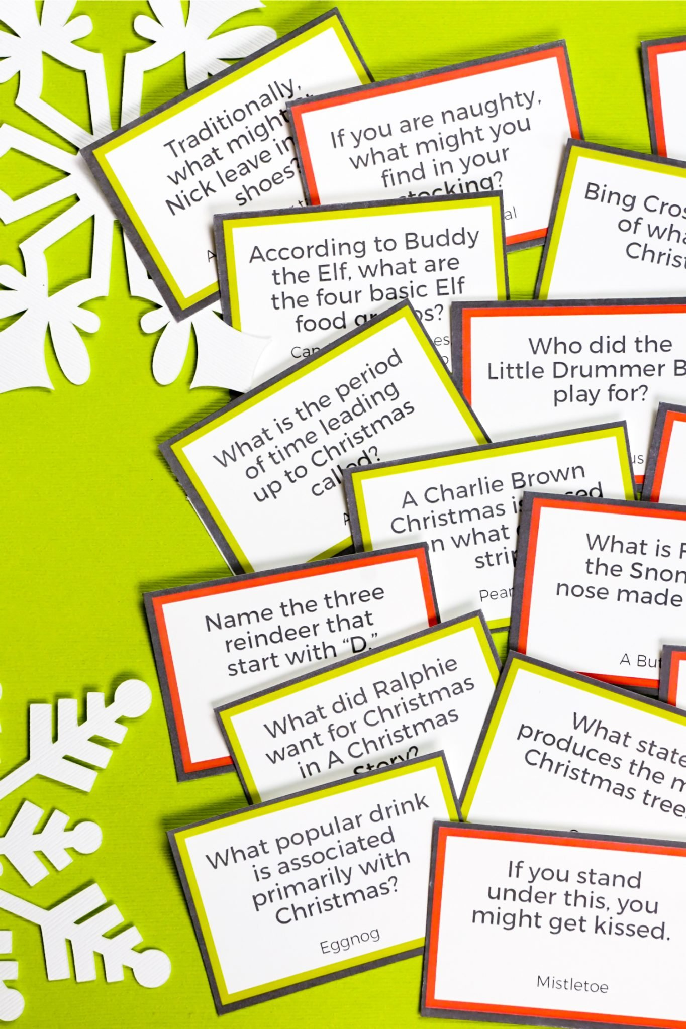 Test your knowledge of the merriest of holidays with this free printable Christmas trivia. Play with family and friends as you sip hot cocoa around a fireplace or plan a trivia night with friends for some holiday cheer!