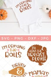 Get your little one ready for turkey day with this Thanksgiving Baby SVG Bundle. Everything you need to make cute onesies, bibs, tees and more. Gobble. Gobble.