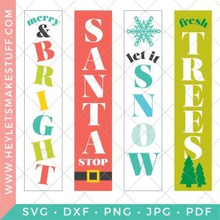 Take your holiday decorating to new heights with this Vertical Christmas Sign SVG bundle. Get all the merry and bright inspiration you need with these four festive cut files, perfect for making Christmas signs!