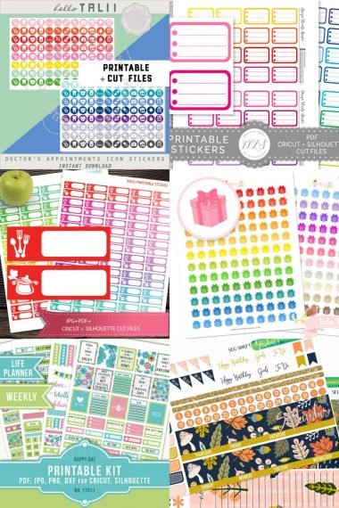 Use your Cricut's Print then Cut feature to make stickers for your planner! Here are 20 awesome printable planner sticker files from Etsy that are compatible with your Cricut Explore or Maker!