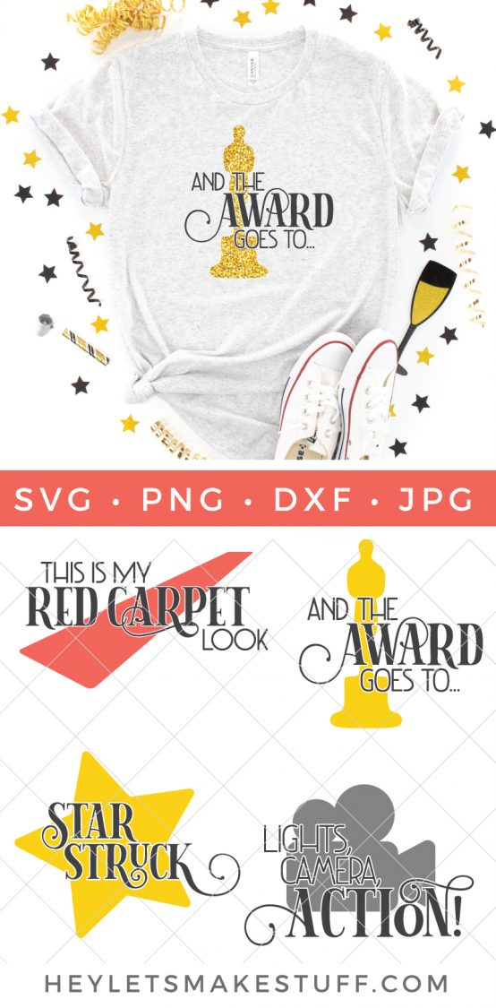 Grab these four cut files as part of our Oscars SVG bundle to get red-carpet ready for the biggest award show of the year!