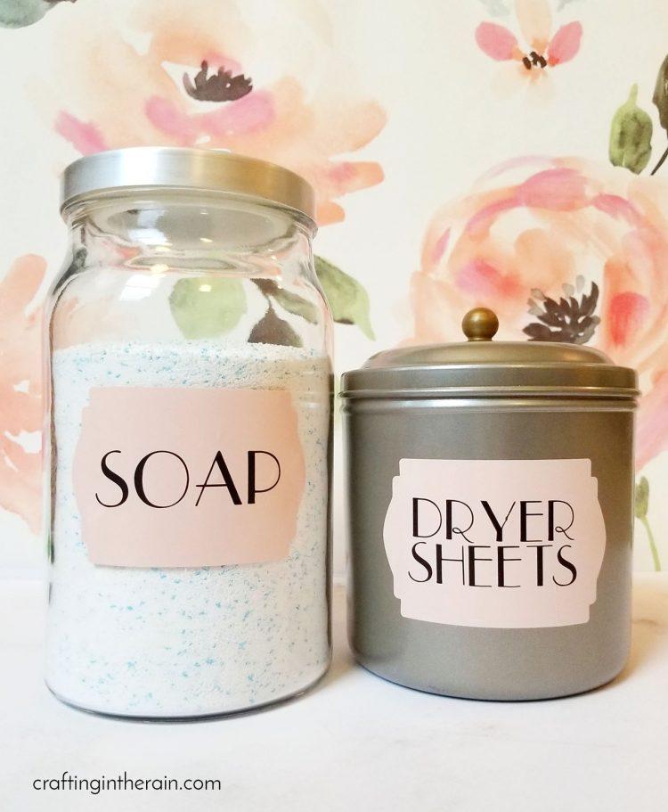 laundry room label organization