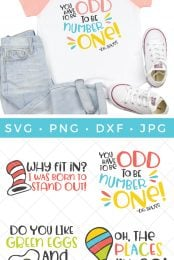 These Dr. Seuss SVG files are perfect for Seuss Day crafts! Use your Cricut or Silhouette to make a DIY Dr. Seuss t-shirt for your child—oh, the places they'll go!