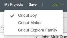Select Cricut Joy as your machine in the dropdown menu of Design Space
