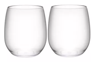 Stemless wineglasses for adhesive vinyl