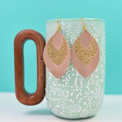 Glitter and Suede Cricut Earrings