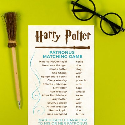 Printable Harry Potter Patronus Matching Game