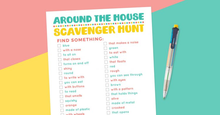 Around the House scavenger hunt printable