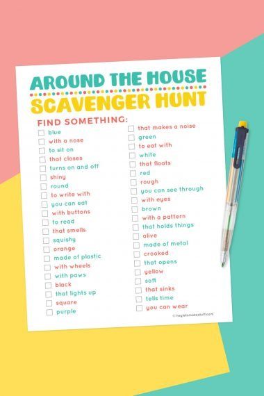 "Are your kids stuck inside? Here's a fun printable ""around the house"" indoor scavenger hunt! This open-ended scavenger hunt can be used over and over again to entertain young kids."