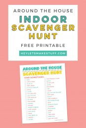 """Are your kids stuck inside? Here's a fun printable """"around the house"""" indoor scavenger hunt! This open-ended scavenger hunt can be used over and over again to entertain young kids."""