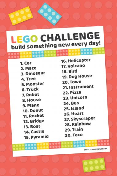 Get the imagination flowing with this printable LEGO challenge! 30 prompts to challenge your kids to think outside the LEGO box. Perfect for kids of all ages!