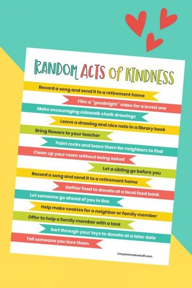 Teach your kids how to love on others with these random acts of kindness ideas. Grab this free printable and complete this list with your kids so they can learn how spread kindness!