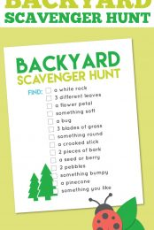 This printable back yard scavenger hunt is a great way to entertain kids of all ages at any outdoor party! This list of items can be found in almost any yard or park—kids LOVE checking off this list!