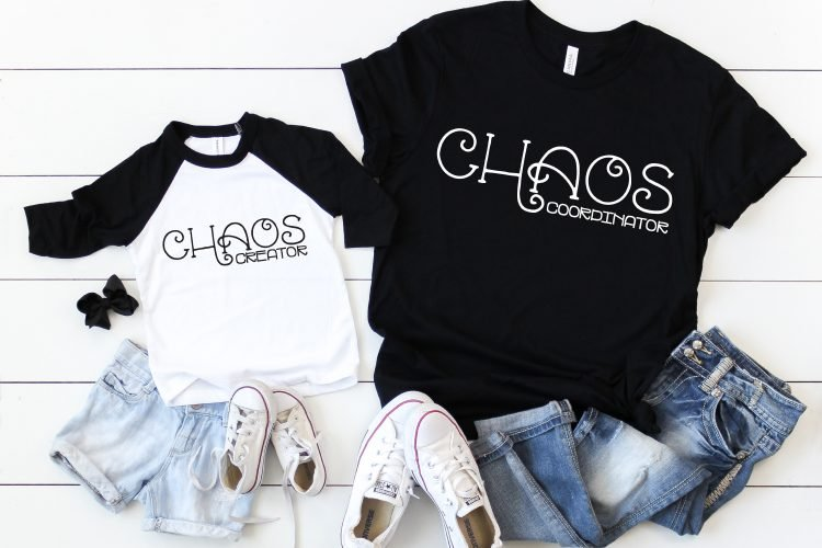 Chaos Coordinator and Chaos Creator SVG on mommy and me shirts.