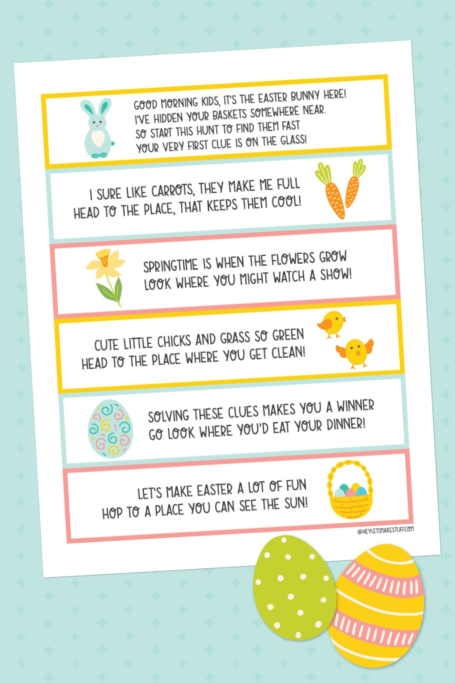 Grab this free Easter basket scavenger hunt to send your kids on a hunt to find their Easter basket! Let's make Easter eggs-tra special this year with fun things we can do around the house!