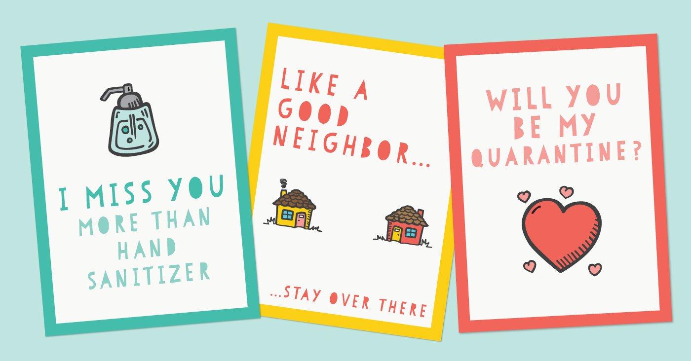 Funny Printable Quarantine Cards For Social Distancing Hey Let S Make Stuff