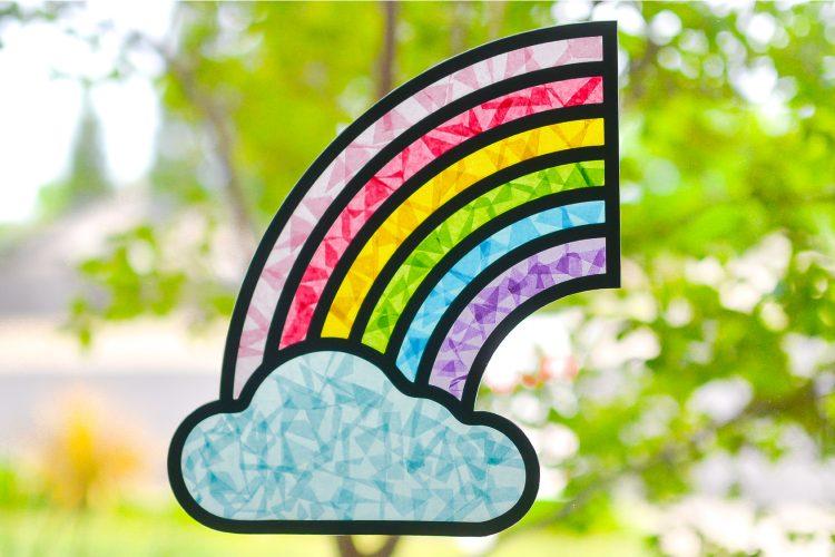 DIY Rainbow Suncatcher in the window