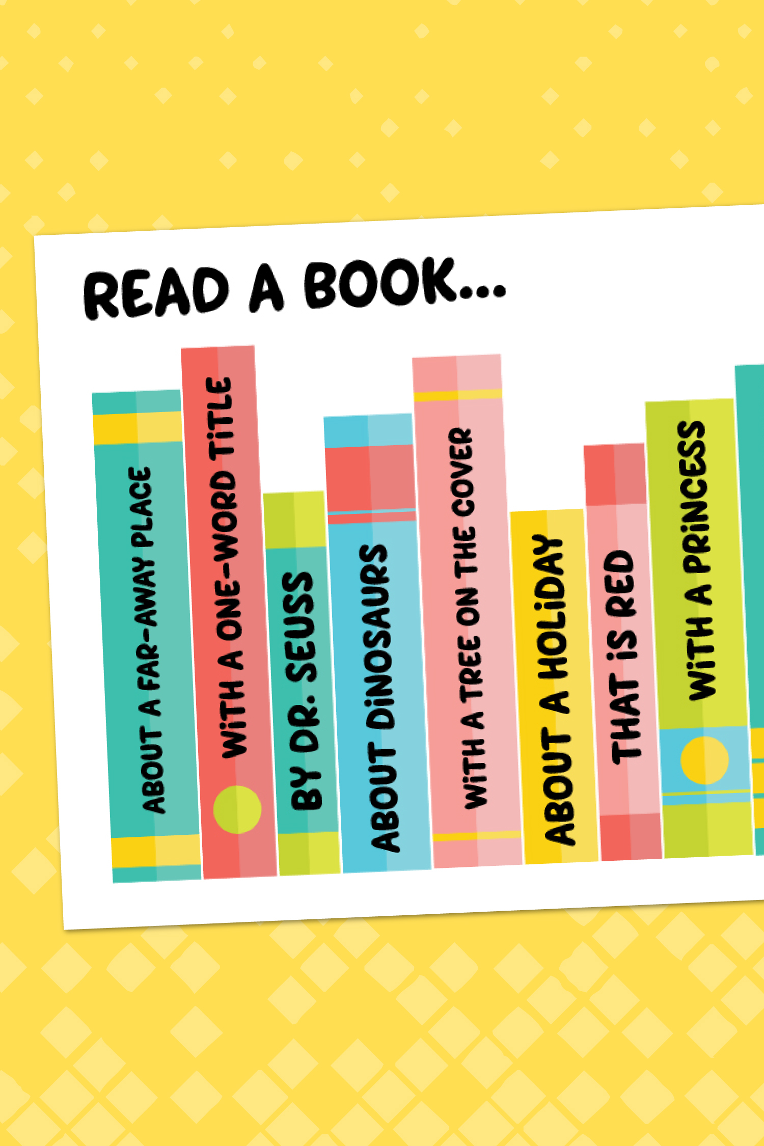 Encourage your kids to read more with this free printable reading challenge! Your kids will have fun crossing books off the list as they work their way down this fun, colorful bookshelf!
