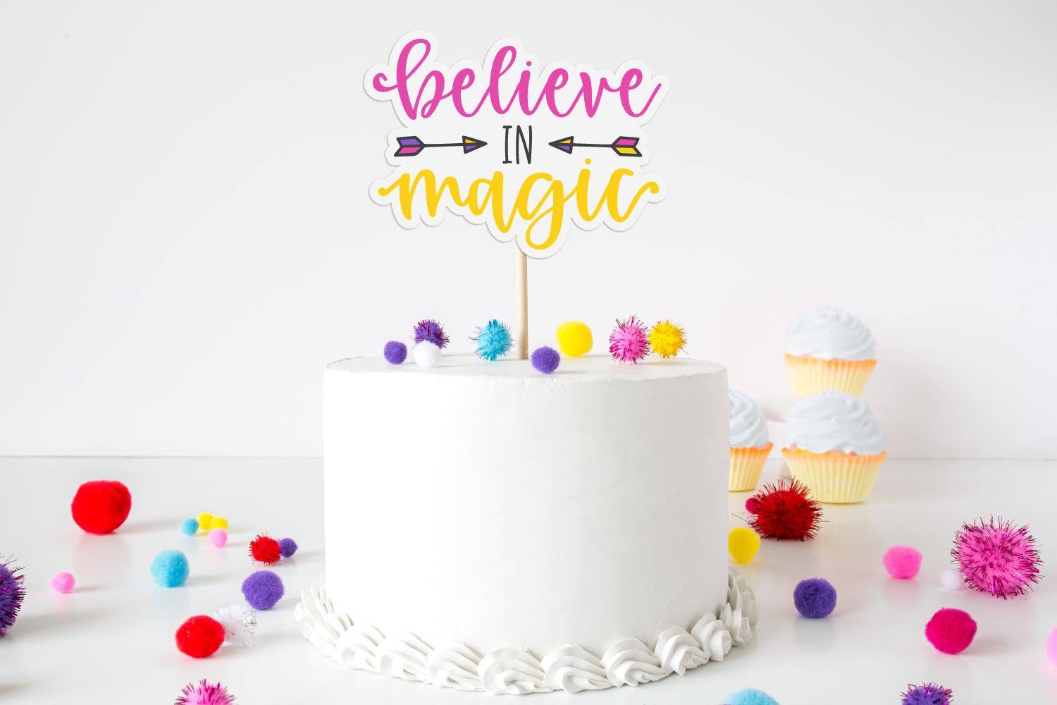 Believe in magic custom cake topper with inspiration SVG on white cake