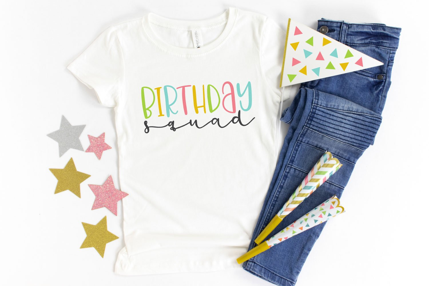 Birthday Squad SVG on a white shirt with party decorations