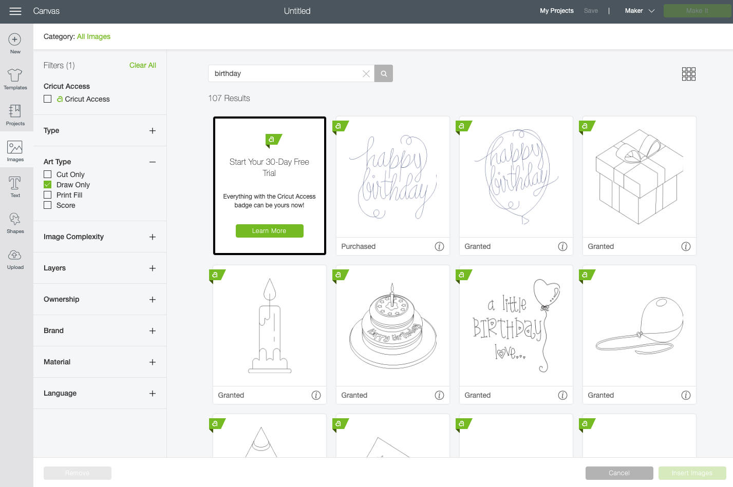 Cricut Design Space: search for birthday draw images