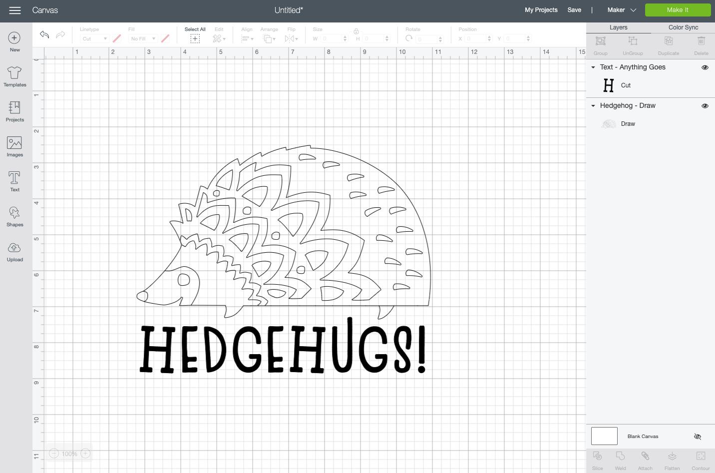"Cricut Design Space: ""Hedgehugs"" written under hedgehog file"