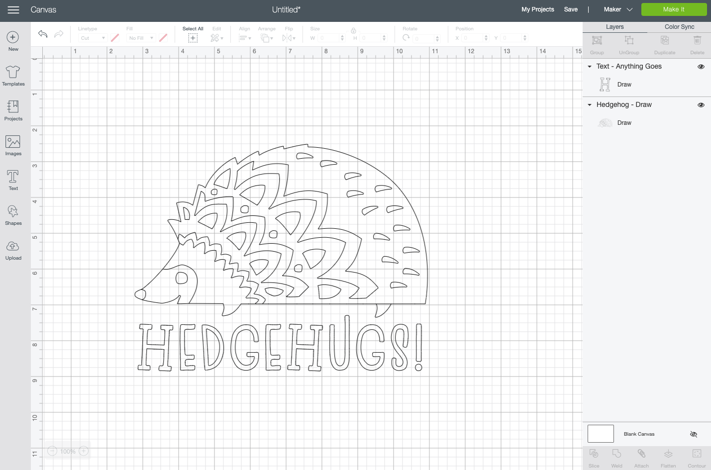 "Cricut Design Space: ""Hedgehugs"" turned into an outlined text file."