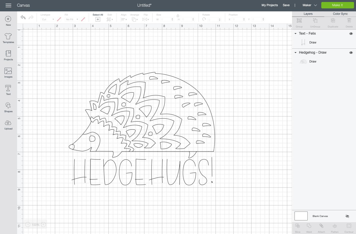 "Cricut Design Space: ""Hedgehugs"" written in the Felix writing font"