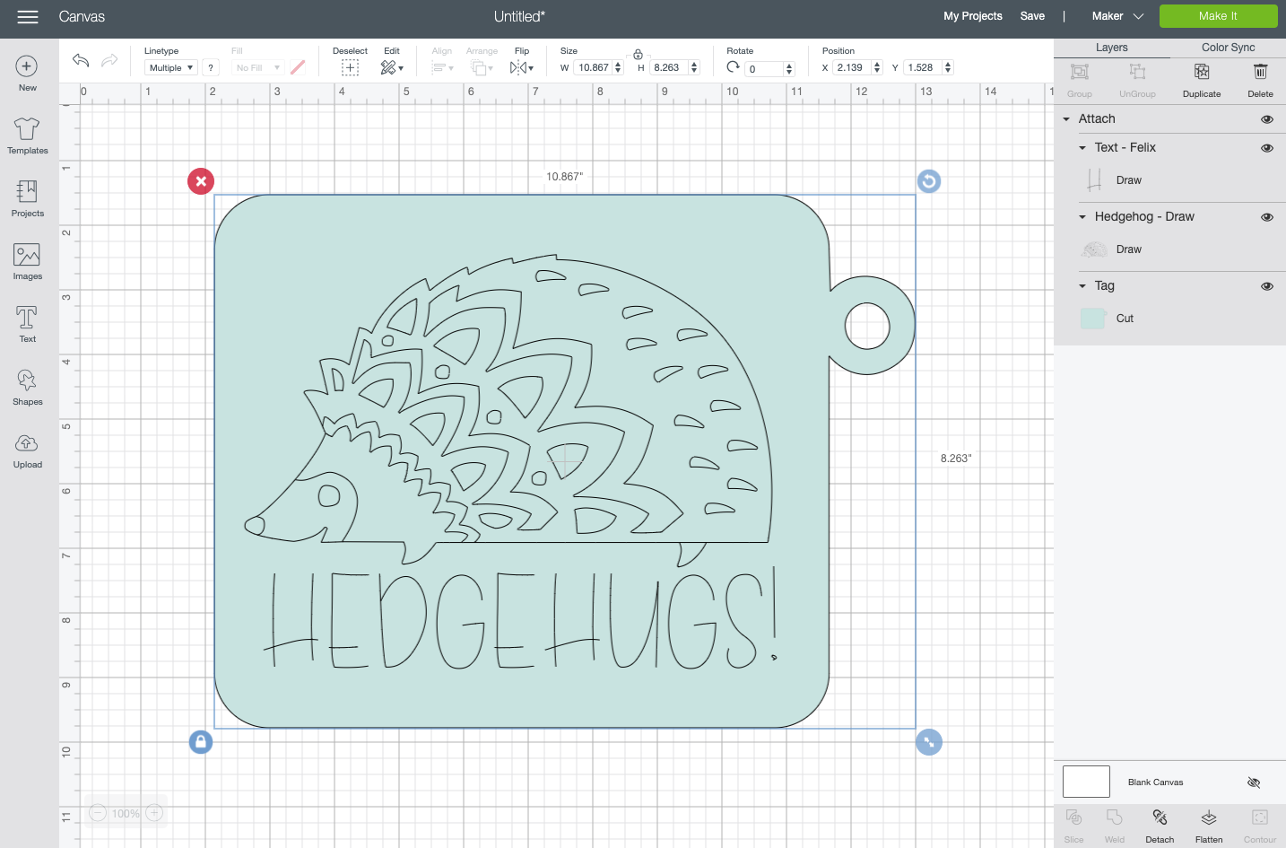 Cricut Design Space: Draw image attached to blue tag