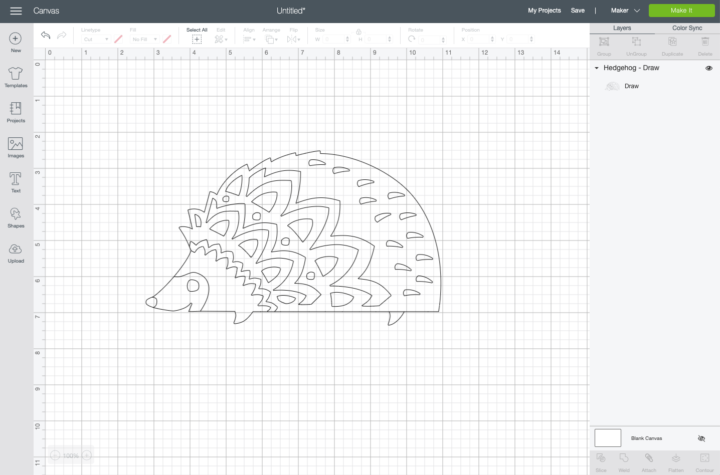 Cricut Design Space: hedgehog draw image on Canvas