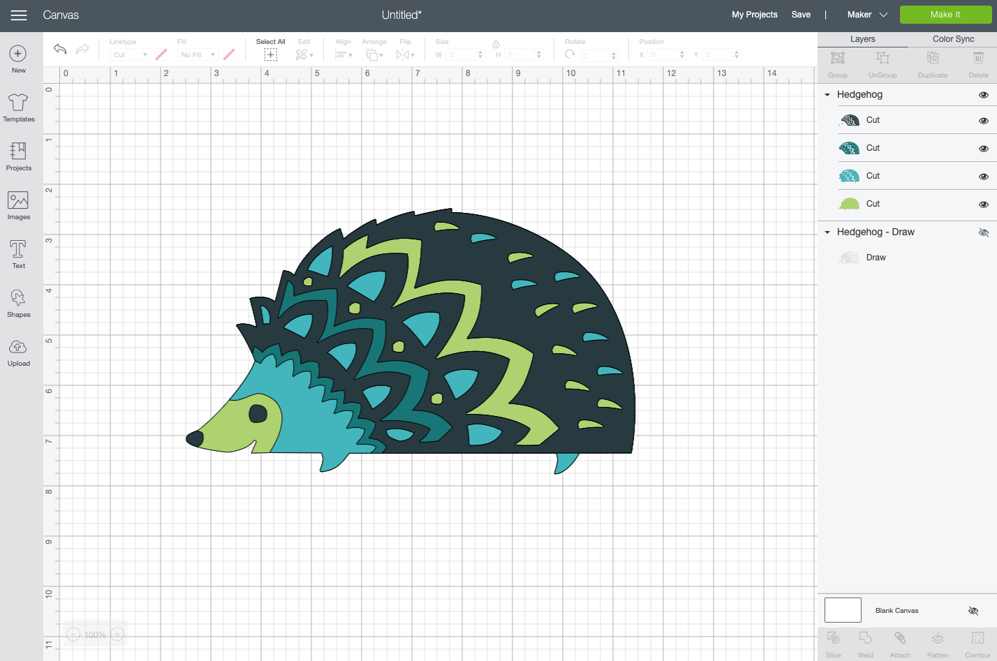 Cricut Design Space: Cut file for the same hedgehog