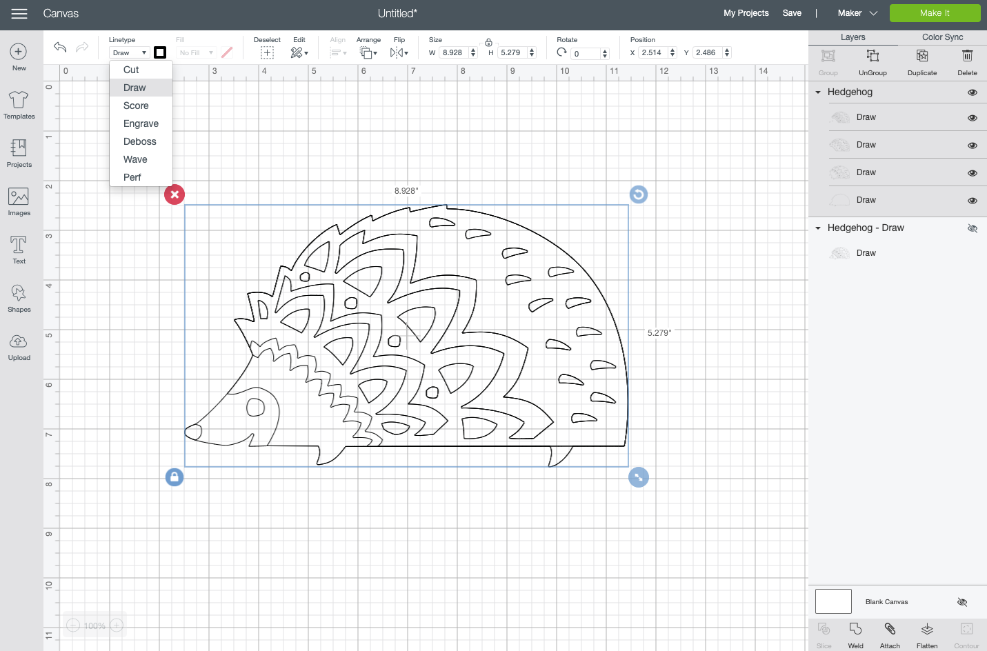 Cricut Design Space: Cut file hedgehog converted to draw file
