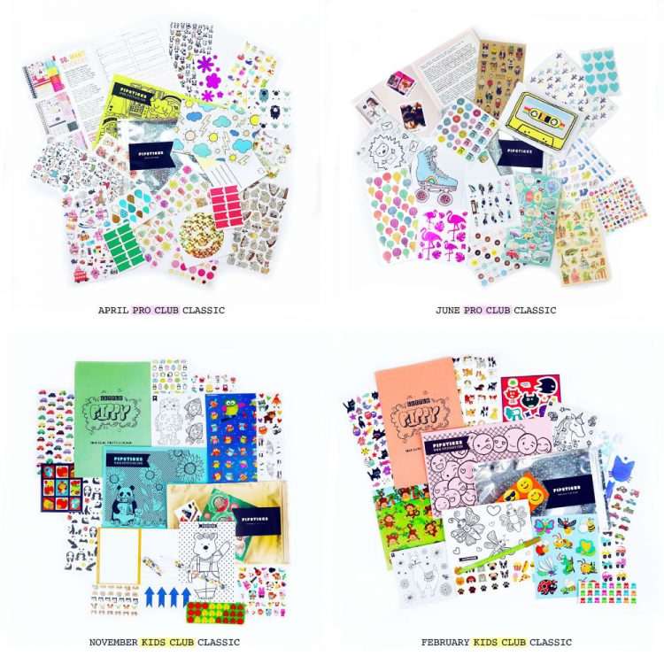 Collage of Pipsticks Sticker Subscription Boxes