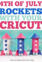Decorate for the 4th of July on a budget with these paper rockets! These paper rockets can be cut on your Cricut or other cutting machine and assembled in minutes. Plus, get a free SVG template!