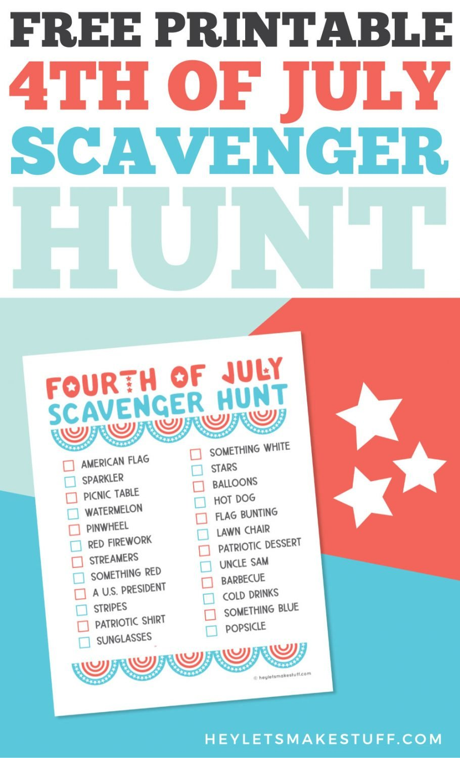 Free Printable 4th of July Scavenger Hunt pin image