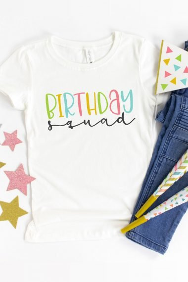 Show everyone you're on the birthday team with this Birthday Squad SVG! This free birthday cut file is perfect for parties and can be cut on your Cricut, Silhouette, or other cutting machine!