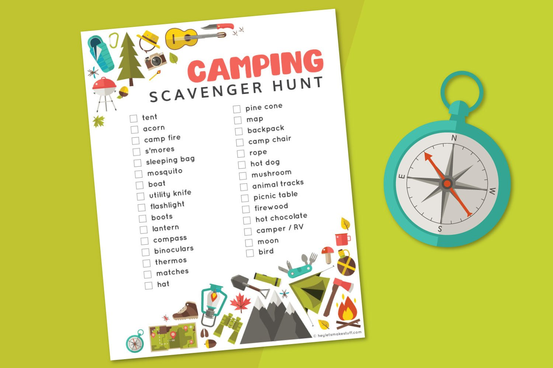 camping scavenger hunt printable