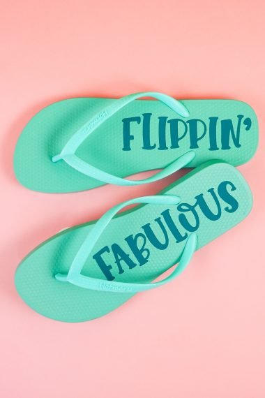 Get your toes in summer shape—it's time for flip flop weather! Use your Cricut to personalize a pair of plain flip flops with iron on vinyl. This is the perfect beginner Cricut project!