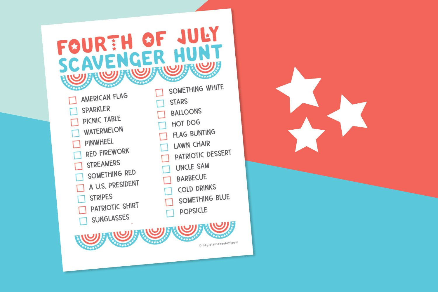 Printed 4th of July Scavenger Hunt on a patriotic background.