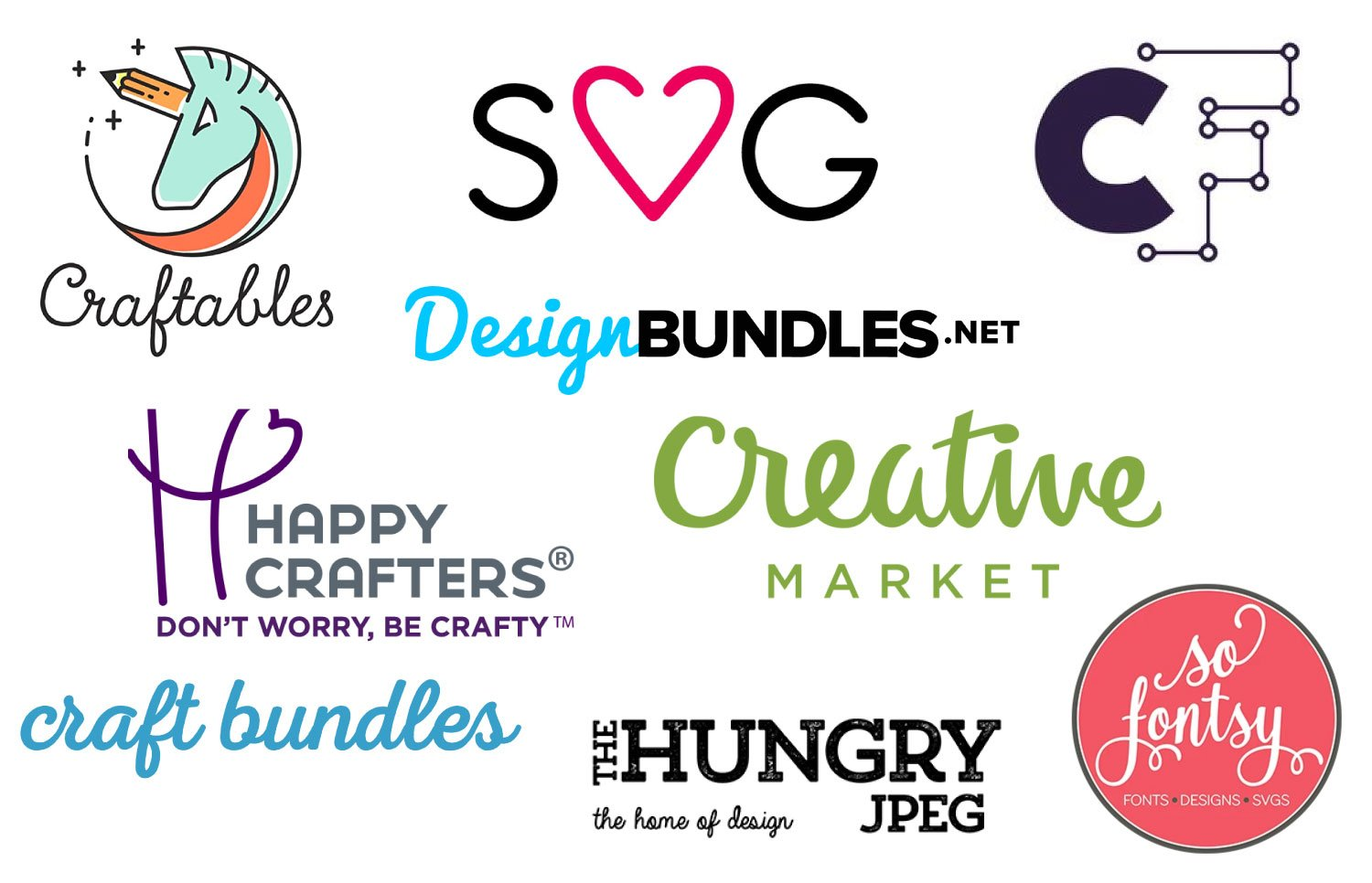Logos of different shops offering free cut files.