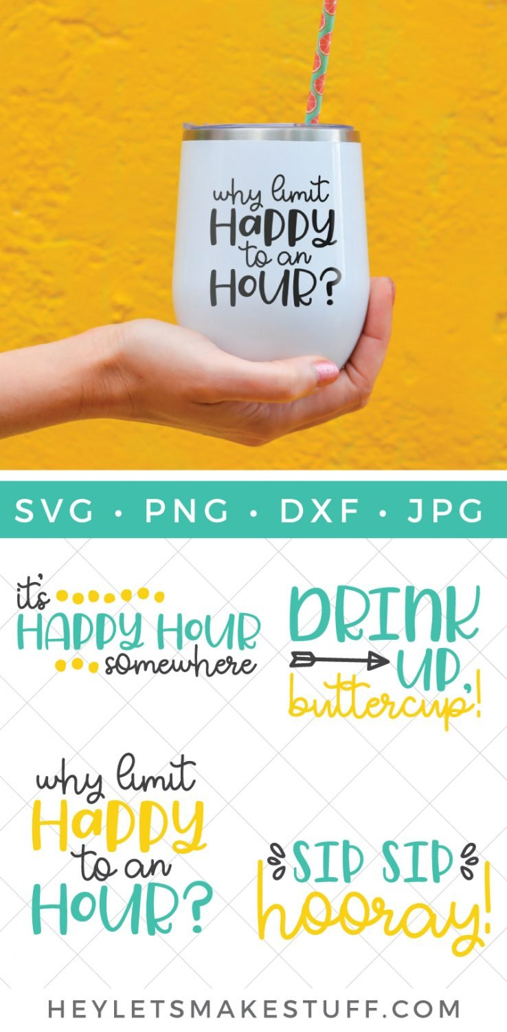 Happy hour SVG on drink tumbler pin image