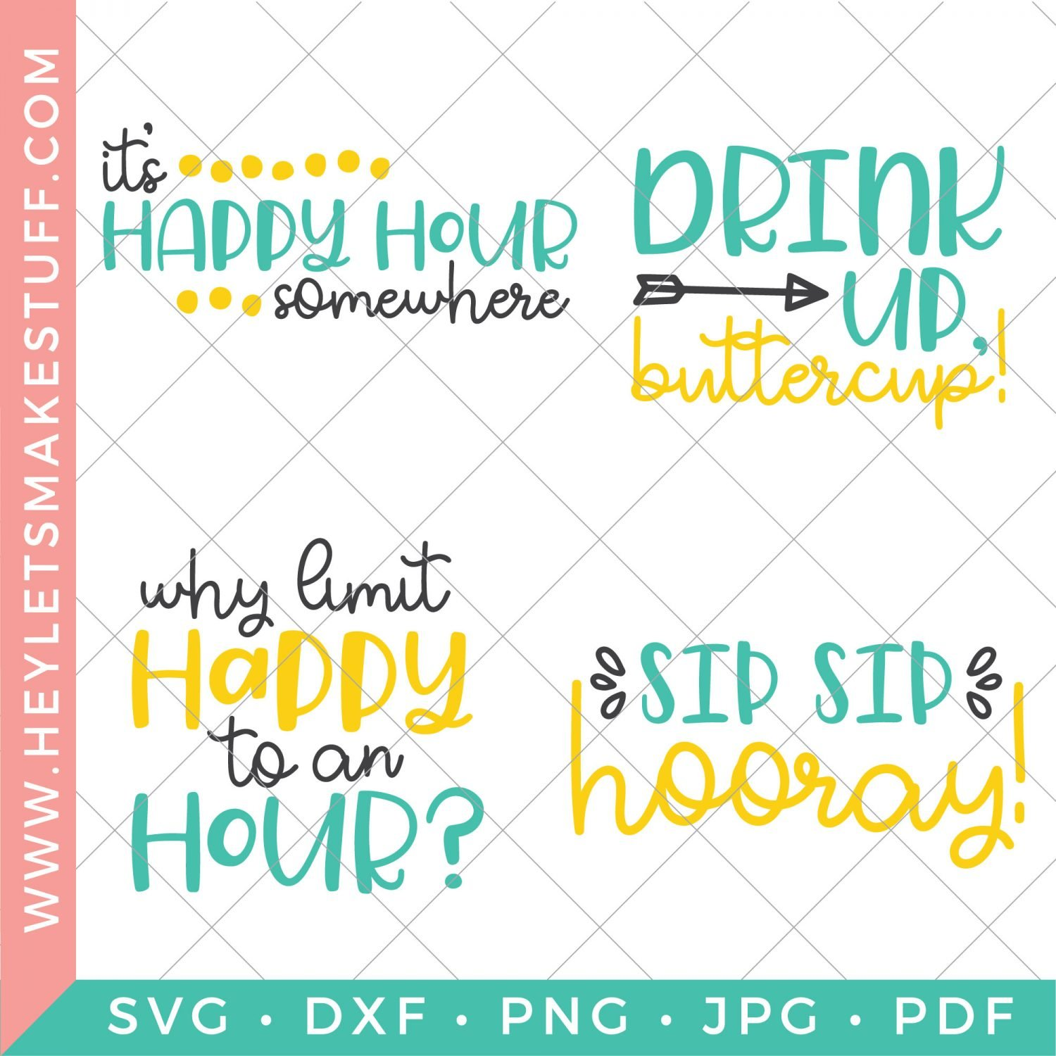 set of four happy hour SVGs