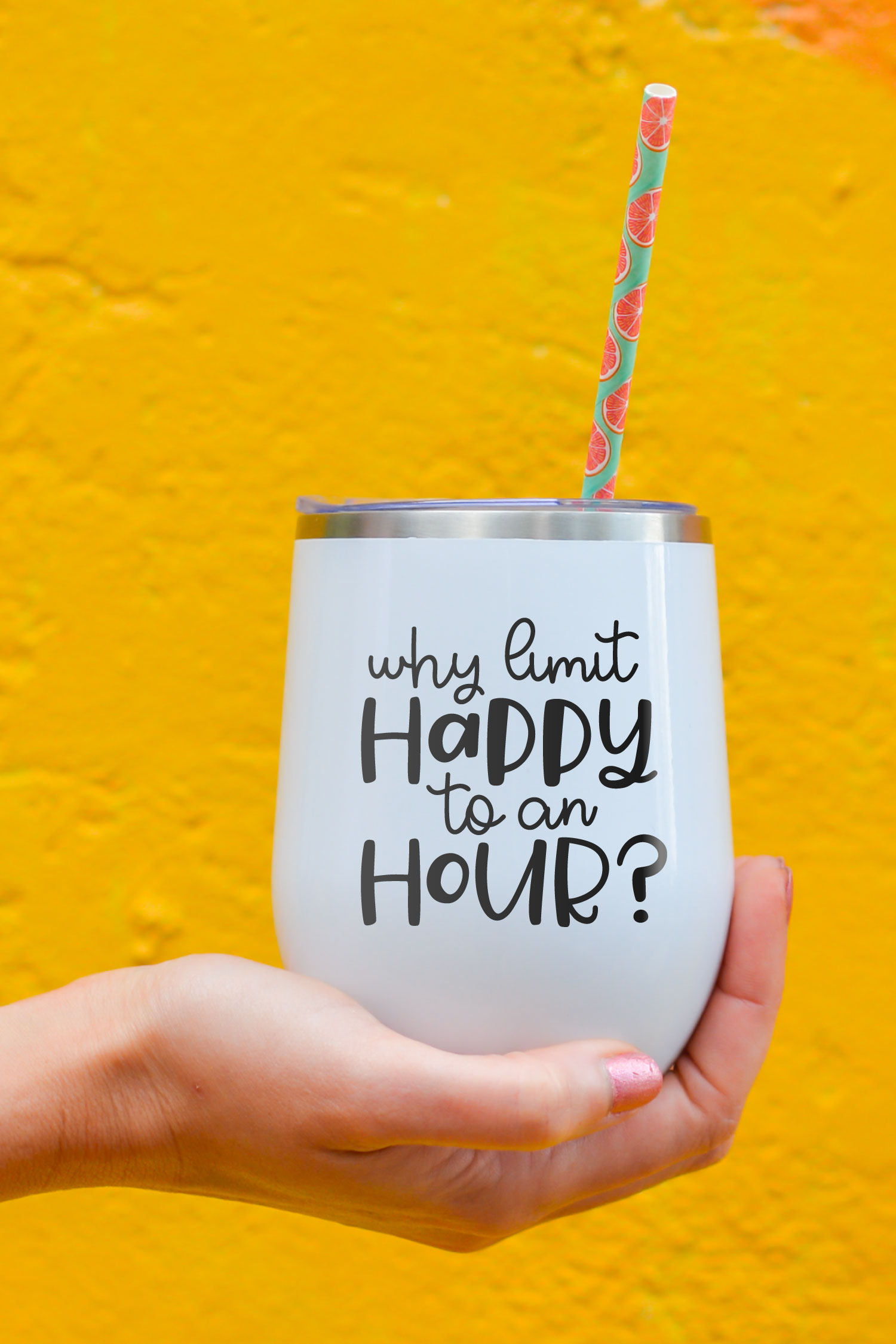 happy hour SVG on drink glass