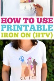 Your imagination is the only limit when it comes to printable iron on vinyl! Print out a design on printable iron on using your home printer and adhere to t-shirts, onesies, hats, and more!