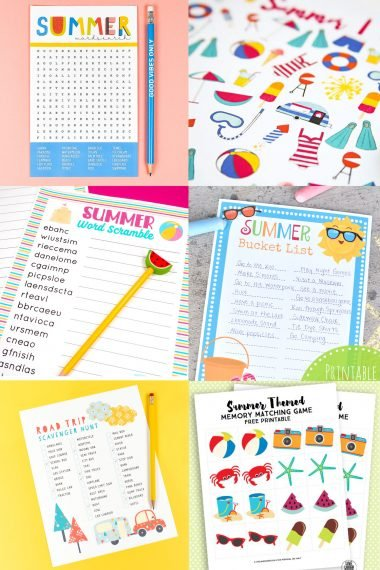When it's hot outside and your kids (and you) need a break, grab one of these printable summer games to cool off and wind down indoors with a little summer fun!