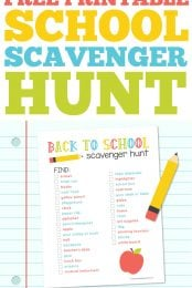 It's time to head back to school! This free printable school scavenger hunt is perfect for teachers to hand out on the first day of school to get kids familiar with their classroom!