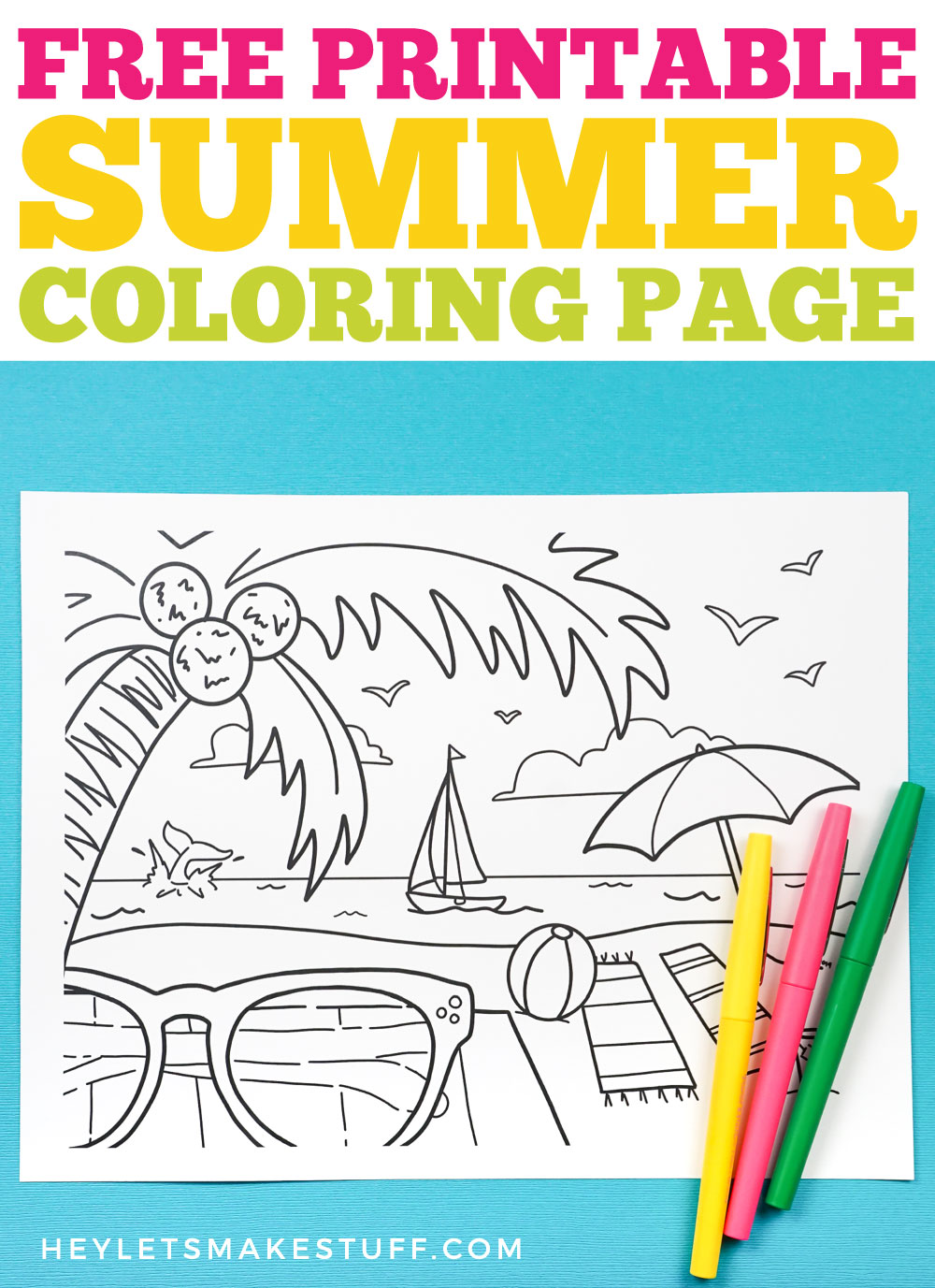 Free printable summer coloring page pin image